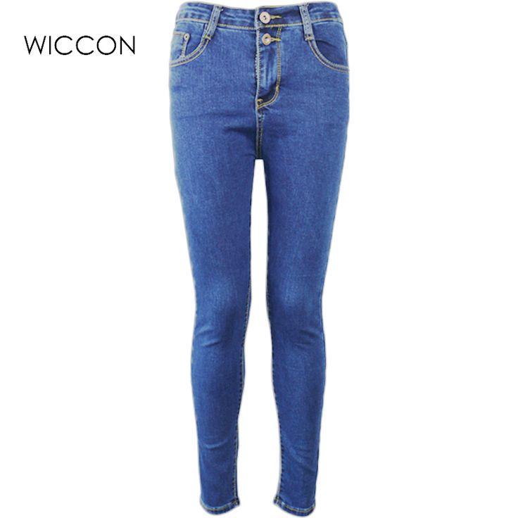 Осень Женщины Высокой Талией Джинсы Случайные Джинсовые Тощий Плюс Размер Карандаш Брюки повседневная тощий джинсовые брюки тонкие женские брюки купить на AliExpress
