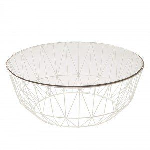 White Studio Wire & Glass Coffee Table