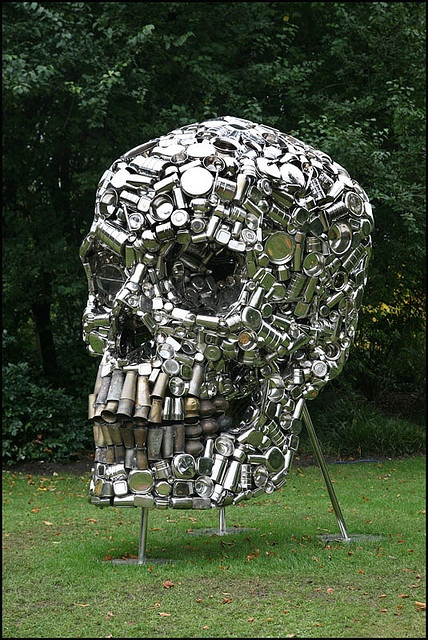 New Delhi-based artist Subodh Gupta uses recycled everyday materials for his artworks, and none are more striking than his 'Very Hungry God' (2006), which is made from hundreds of stainless steel containers.