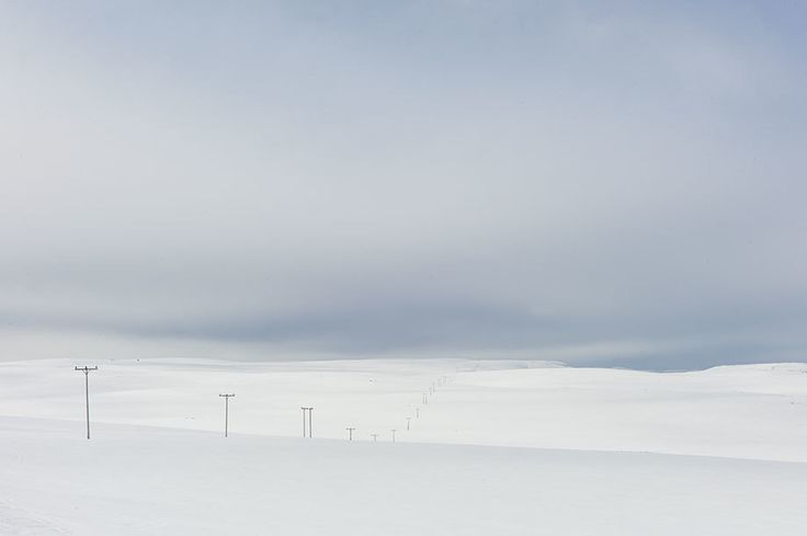 "Photo by Magnus Nilsson titled ""Power Lines in Snow, Close to North Cape, Norway, Spring,"" 2014"