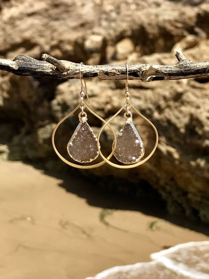 Gold Hoop Pear Shape Tear Drop Nude Druzy Earrings ~ New Gold Filled Dangle Chandelier Drops, Beige Tan Bridal Bridesmaid Jewelry for Summer by LolaBelleGems on Etsy