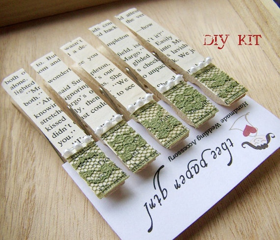 Vintage Bookpage Clothespins DIY KIT Make a set by theepapergirl, $25.00