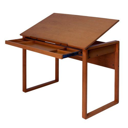 Studio Designs Ponderosa Wood Topped Drafting Table - Create a workspace as beautiful as the creations that spring from it with the elegant Studio Designs Ponderosa Wood Topped Table. Six top angle adjust...