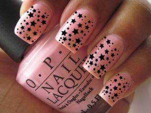 OPI NailsNailart Opi, Nails Art, Art Stars, Pink Nails, Black Starry, Art Decals, Opi Nails, Black Stars, Nails Stars