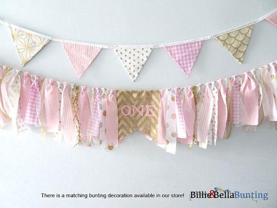 Rose et or premier anniversaire banderole par BillieBellaBunting