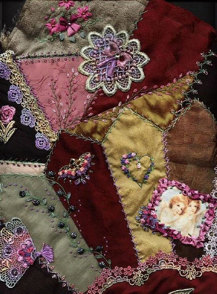 I crazy quilting ribbon embroidery block