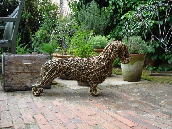 Willow Garden Or Yard sculpture by artist Emma Walker titled: 'Dachshund - standard (Woven Willow Commission Sculptures)'