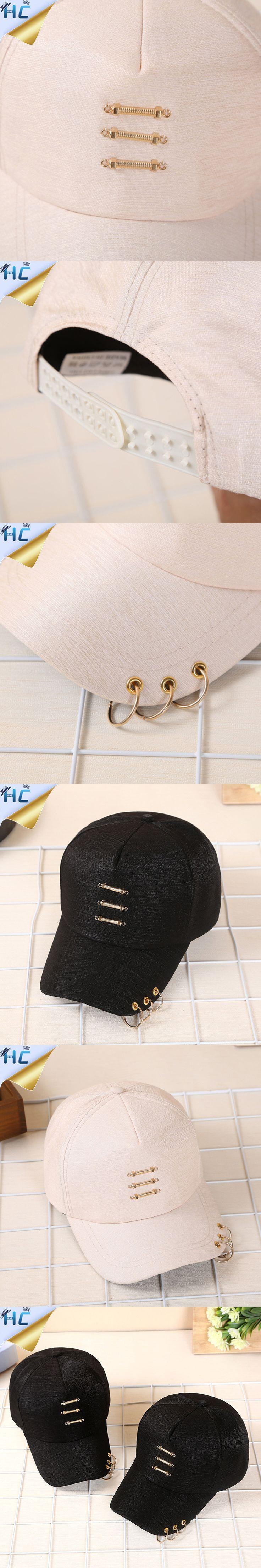 New Korean Harajuku Gd Unisex Solid Ring Safety Pin curved Bone Hat Baseball Cap Women Men Cotton snapback caps casquette gorras