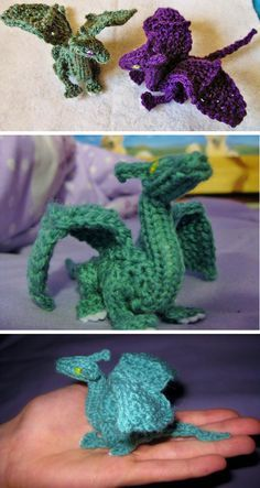Knitting pattern for Palm-Sized Dragon by CraftyMutt (some crochet). Two inches tall, and five from nose to tail. More pics on Etsy (affiliate link) tba fantastical stashbuster teeny toy