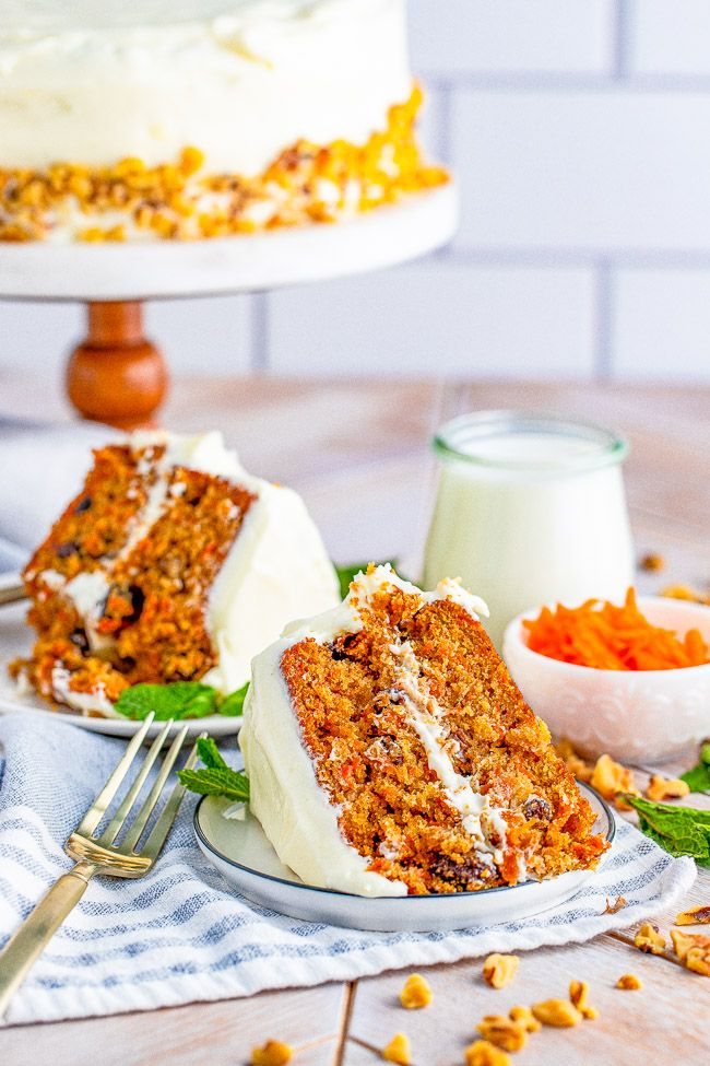 Layered Carrot Cake With Cream Cheese Frosting Averie Cooks Recipe In 2021 Carrot Cake Cake With Cream Cheese Cream Cheese Frosting