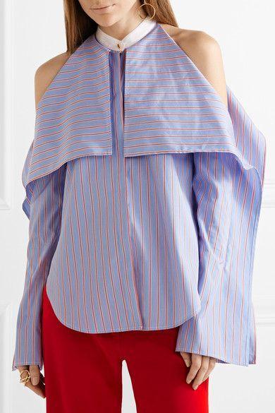Rosetta Getty - Cold-shoulder Striped Cotton-poplin Blouse - Blue - US