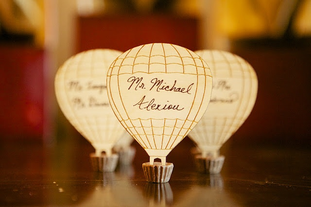 Hot Air Balloon Wedding Escort Cards. I think for the engagement party you can use them as table numbers