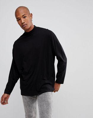 1fc12a9de83547 DESIGN – Schwarzes, extrem übergroßes und langärmliges Shirt mit ...
