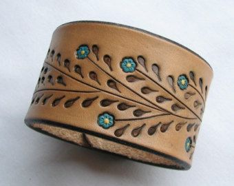 Leather Wristband Bracelet w Little Red Flowers  Hand Tooled