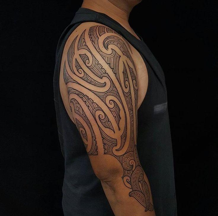 Ta Moko half sleeve done by Tristan (Dead Meat Tattoo) #sunsettattoonz www.sunsettattoo.co.nz