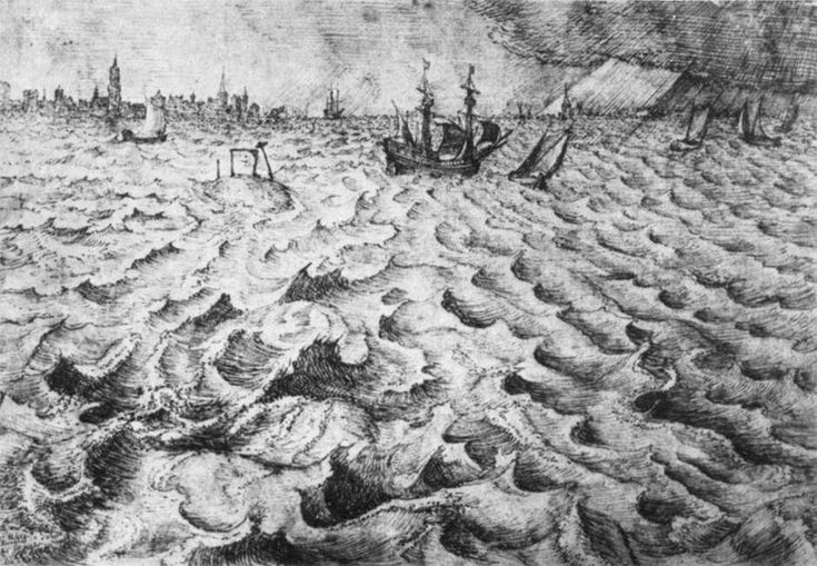 """Seascape with a View of Antwerp"", Ink by Pieter Bruegel The Elder (1525-1569, Belgium)"