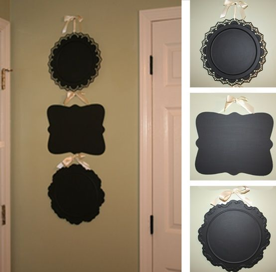 Dollar store platters covered in chalkboard paint. Finally know what to do with all the old silver plate platters in storage!