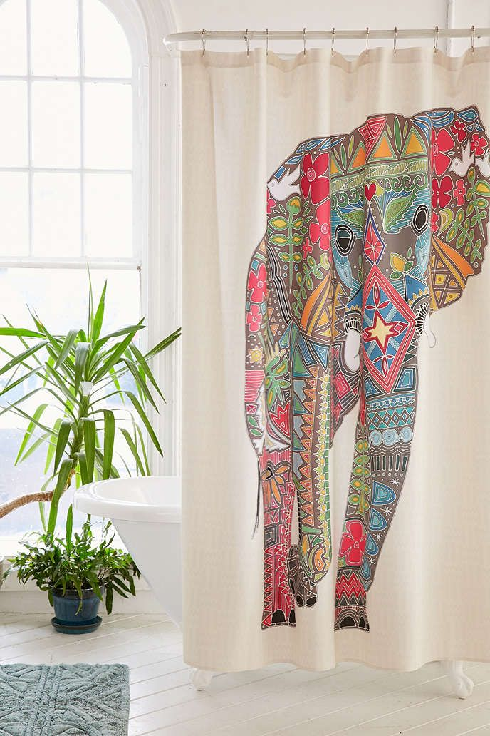 Sharon Turner For DENY Painted Elephant Shower Curtain - Urban Outfitters