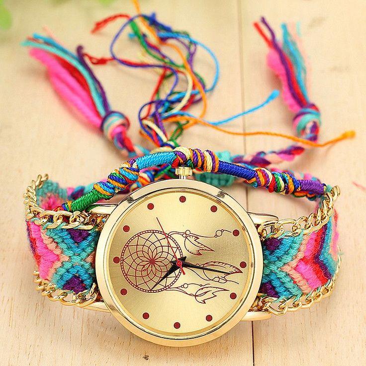 Vansvar Vintage Women Native Handmade Quartz Watch Knitted Dreamcatcher Friendship Watch Relojes Mujer Drop Shipping 1468