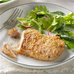 Busy-Day Pork Chops Recipe -It was time to use or lose some pork chops I had in the fridge, so I dressed them in bread crumbs and Parmesan and baked them up. Necessity sure is the mother of invention. —Dee Maltby, Wayne, Ohio