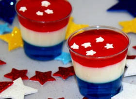 A party without a jello shot is like a sporting event without the national anthem!  Make everyone's day and fulfill your patriotic spirit by including this patriotic jello shot.  With a great blend of berry and sweet flavors, it's bound to make a few highlight reels!