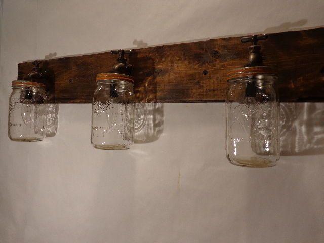 Mason jar vanity light fixture country primitive rustic wood vintage style - Primitive bathroom vanity lights ...