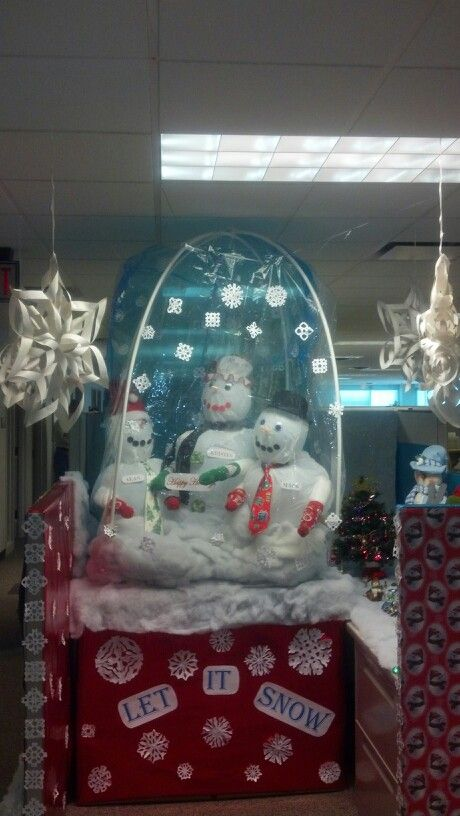 Christmas Door Decorating Ideas Snow Globe : Snow globe cubicle decorating creativity i got s z