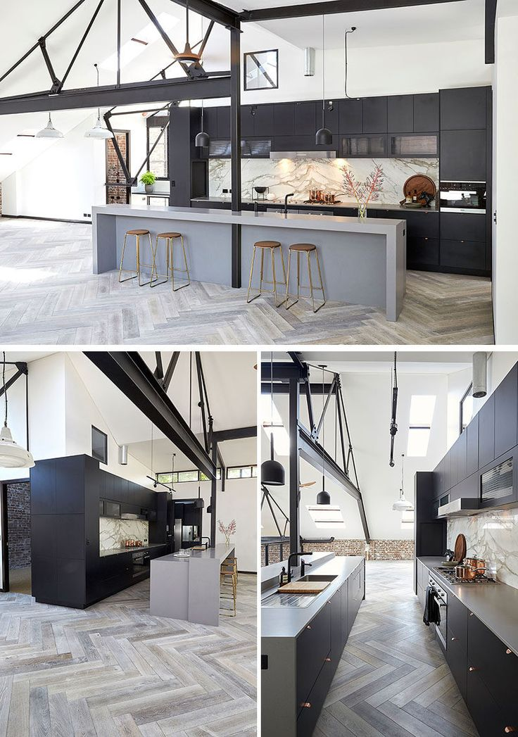 16 Inspirational Examples Of Herringbone Floors. Industrial Style KitchenLoft  ...