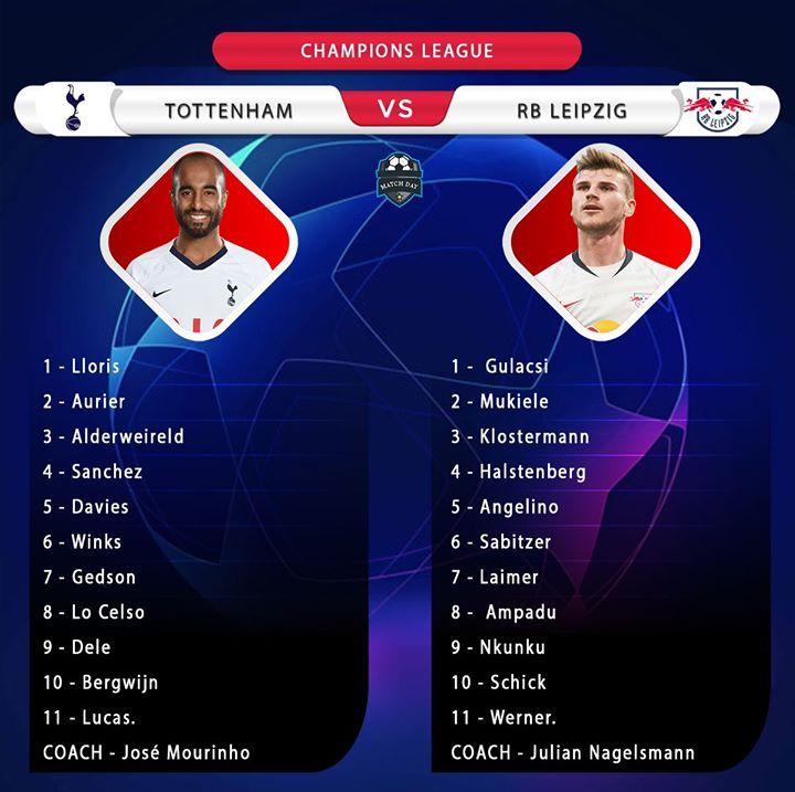 Starting Line Ups Tottenham Vs Rb Leipzig Ucl Totrbl In 2020 Rb Leipzig Top League Tottenham