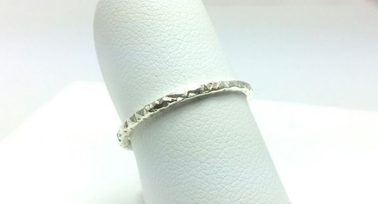 Sterling Silver 925 Hammered  Fine Handmade Simple Thin Stack Ring  #Handmade #Rolling #stacking #ring