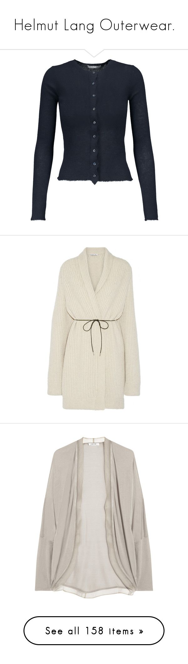 """""""Helmut Lang Outerwear."""" by that-drumming-noise ❤ liked on Polyvore featuring tops, cardigans, jackets, outerwear, sweaters, dresses, neutrals, helmut lang cardigan, beige cardigan and tie cardigan"""