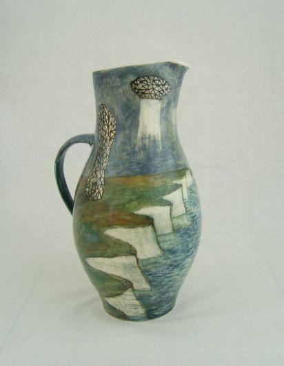 christine thacker, pigment painted, white earthenware,1100deg.
