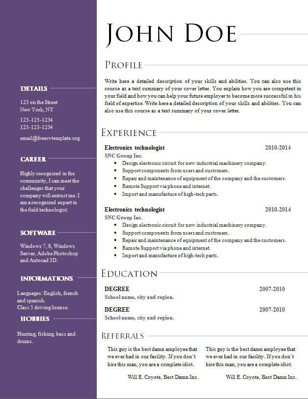 Cv Template Open Office Resume Template Free Resume