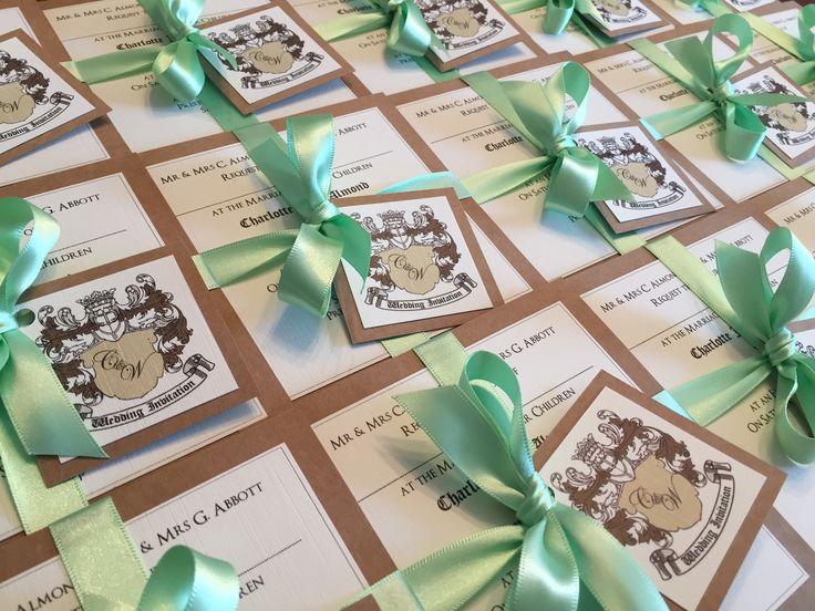 Coat of Arms Evening Wedding Invitation Bundle in Brown Kraft Card & Mint