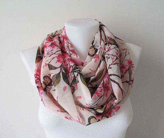 Pink Circle Scarf Floral Pattern Infinity by NaryasSewingCorner