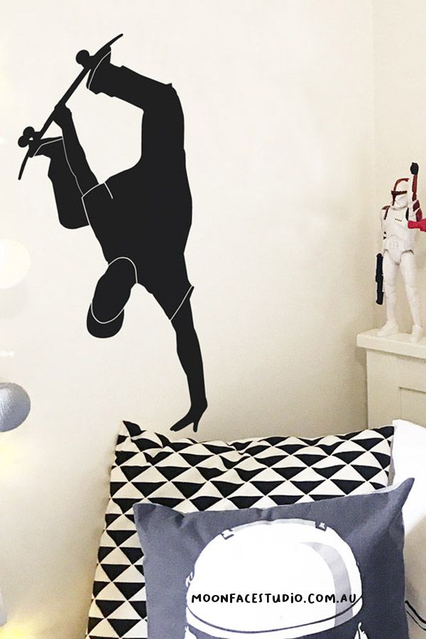 Do you love skateboarding? Our skateboarder is a vinyl wall sticker that looks great on walls or doors. Easy to supply you can have this guy doing handplants in your kid's bedroom, playroom, or on your teens walls. #wallsticker #skateboarding #bedroomdecor #walldecals
