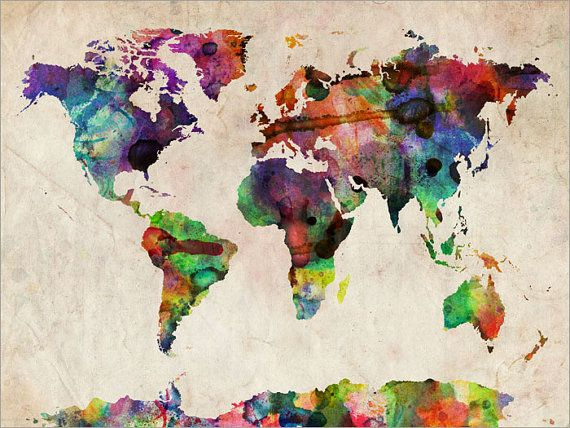 Watercolor Map of the World Map Art Print 18x24 inch by artPause, £14.99