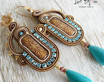 Soutache Earrings, Handmade Earrings, Hand Embroidered, Soutache Jewelry, Handmade from Italy, OOAK