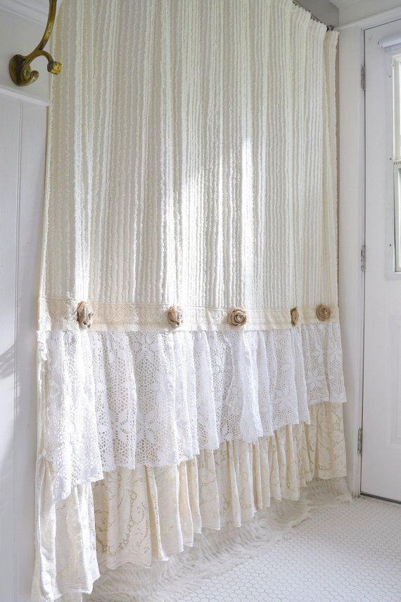 Shabby Cottage Chic Shower Curtain Cream Chenille by FarmHouseFare