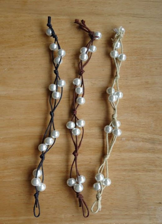 easy homemade bracelets - make bracelet with cord and pearls DIY