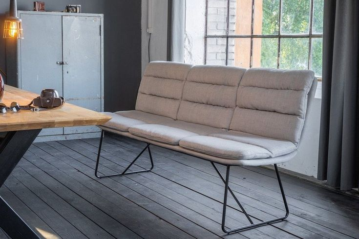 Kasper-Wohndesign Esszimmer-Bank Stoff Hellgrau »Vince« In