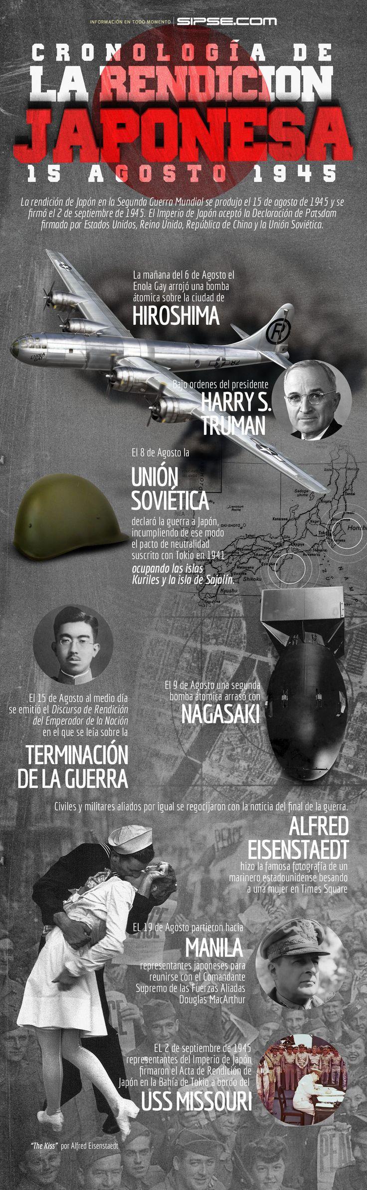 Rendición de Japón en la II Guerra Mundial  El 15 de agosto de 1945 Japón se rindió y puso así fin a la Segunda Guerra Mundial. La rendición se firmó el 2 de septiembre de 1945.