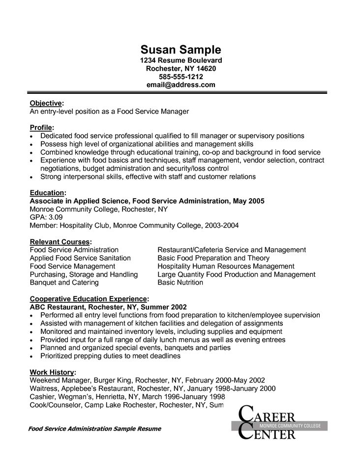 15 best resume images on Pinterest Career, The recruit and - resume for fast food