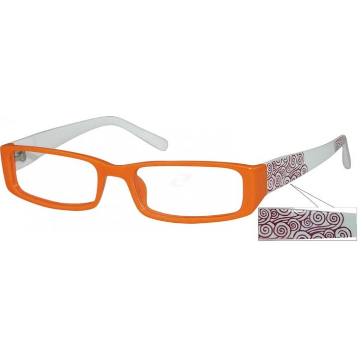 A medium narrow size, plastic full rim frame with lucky clouds graphic patterns on temples.