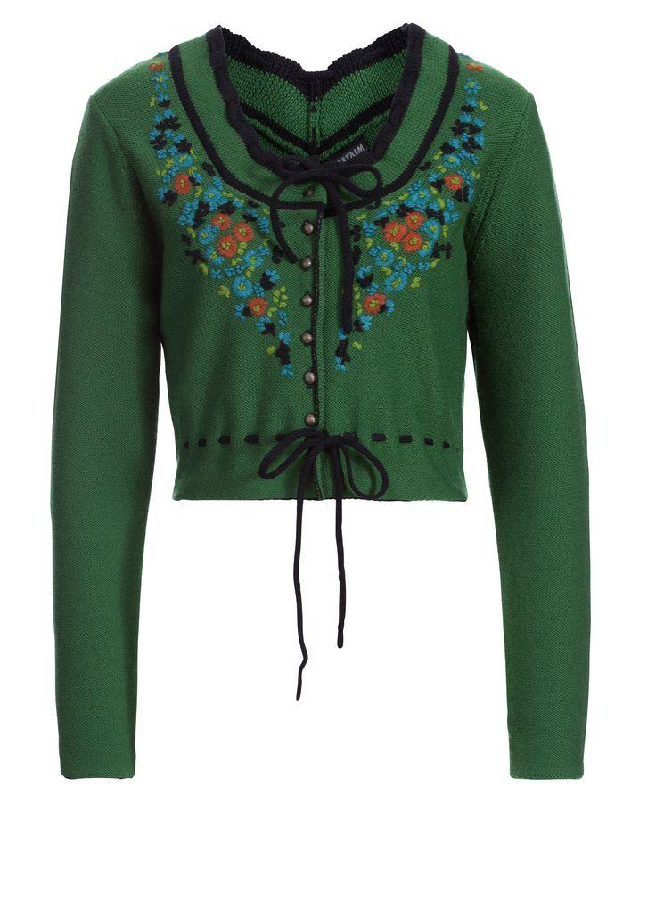 Wunderhübsche Trachtenjacke aus dem Hause Sportalm Kitzbühel. Die Jacke ist fein gestrickt und mit einem trachtigen Blütenmuster bestickt. Materialzusammensetzung: 100% Wolle