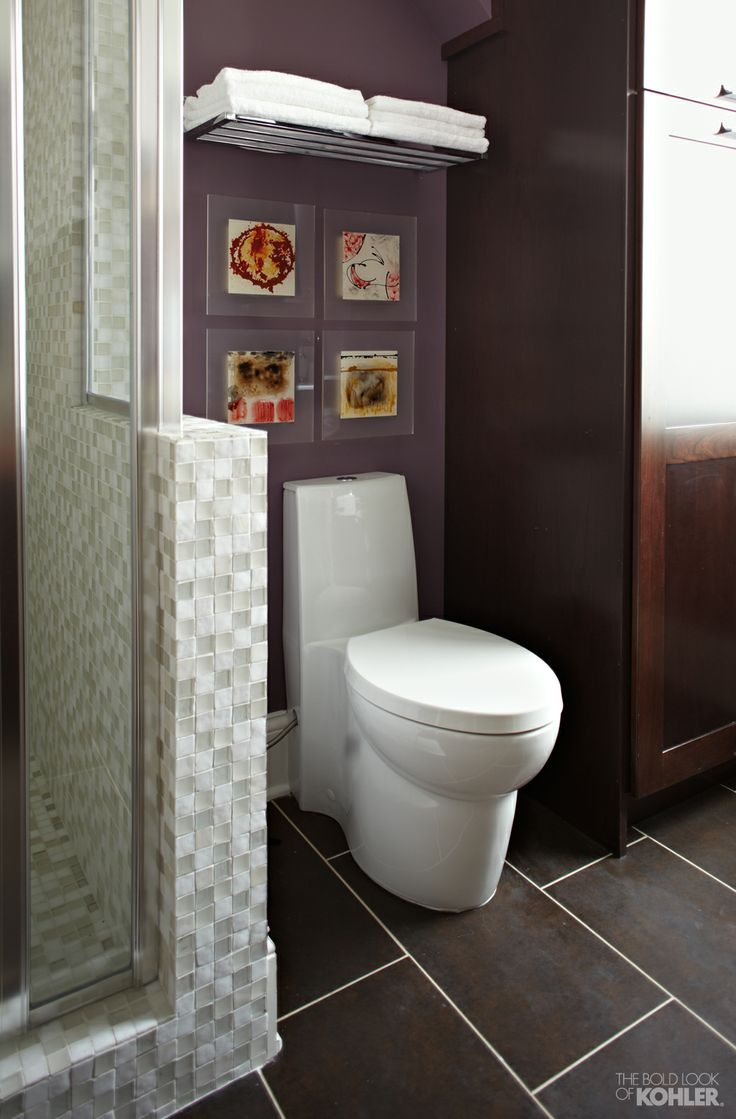 Eggplant Bathroom Featuring Great Bathroom Storage