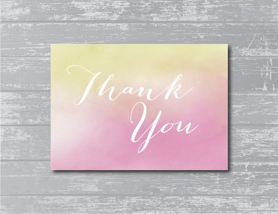 INSTANT DOWNLOAD...Watercolor Thank You Sign 5x7 DIY by CreativePapier, $4.00