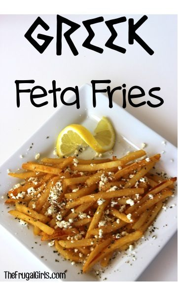 Greek Feta Fries Recipe!  Such a simple and delicious way to jazz up your french fries!! | TheFrugalGirls.com