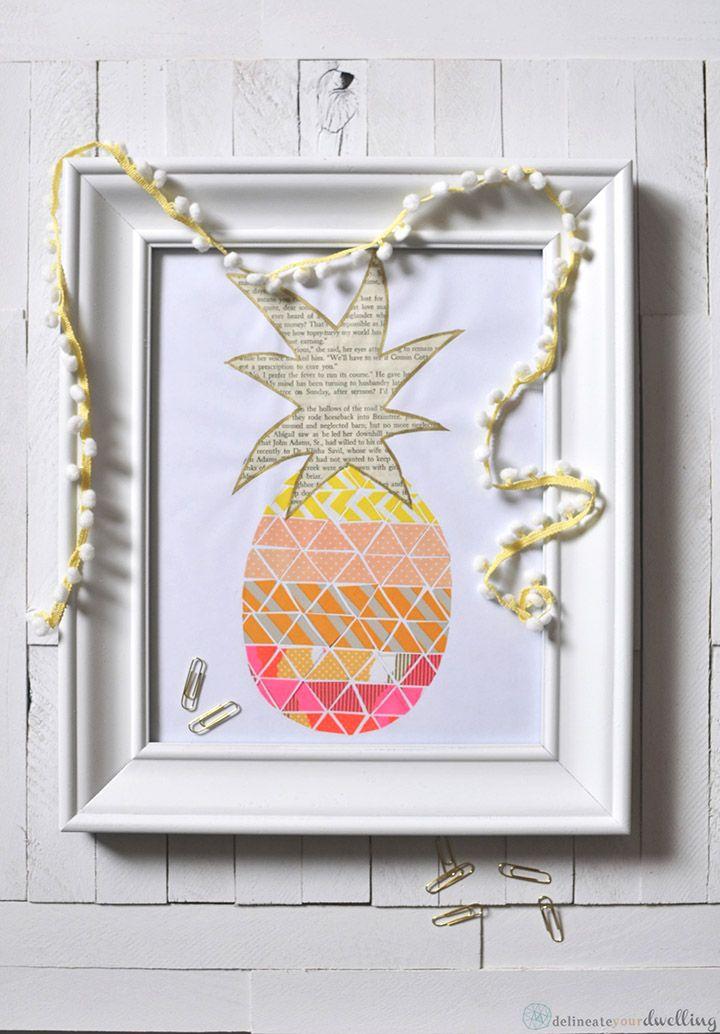 DIY: pineapple washi tape print