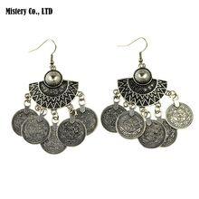 Vintage Antiek Zilver Kleur Tribal Coin Tassel Drop Dangle Oorbellen Indian Sieraden Voor Vrouwen 2016(China (Mainland))